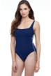 Profile by Gottex Ginger Petrol Rope Two Tone Round Neck One Piece Swimsuit