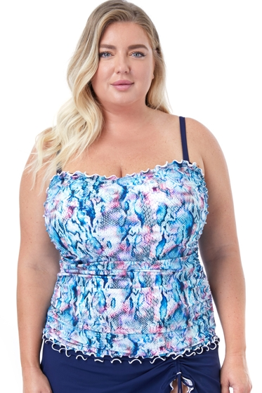 Profile by Gottex Snake Charm Plus Size Sweetheart Underwire Tankini Top