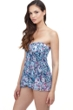 Profile by Gottex Snake Charm Multi Blue Bandeau Strapless Flyaway One Piece Swimsuit