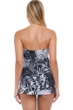 Profile by Gottex Marbella Black and White Bandeau Strapless Flyaway One Piece Swimsuit
