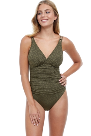 Profile by Gottex Luminous Safari V-Neck One Piece Swimsuit