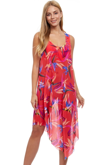 Profile by Gottex Paradise Asymmetrical Round Neck Cover Up Dress