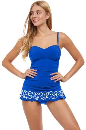 Profile by Gottex Free Spirit Bandeau Strapless Shirred Laser Cut Swimdress