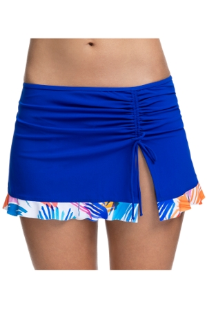 Profile by Gottex Splash Sapphire Side Slit Cinch Swim Skirt