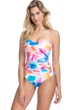 Profile by Gottex Splash Shirred Front Bandeau Strapless One Piece Swimsuit