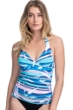Profile by Gottex Palm Beach Blue V-Neck Halter Cross Over Tankini Top