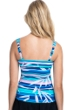 Profile by Gottex Palm Beach Blue E-Cup Scoop Neck Shirred Underwire Tankini Top