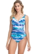 Profile by Gottex Palm Beach Blue V-Neck Cross Over Surplice One Piece Swimsuit