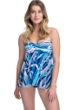 Profile by Gottex Palm Beach Blue Twist Front Bandeau Strapless Flyaway One Piece Swimsuit