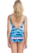 Profile by Gottex Palm Beach Blue V-Neck One Piece Swimsuit