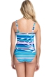 Profile by Gottex Palm Beach Blue D-Cup Scoop Neck Shirred Underwire One Piece Swimsuit