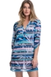 Profile by Gottex Palm Beach Blue Long Sleeve V-Neck Mesh Cover Up Tunic