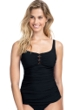 Profile by Gottex Date Night Black Scoop Neck Shirred Tankini Top