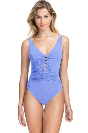 Profile by Gottex Date Night Lavender V-Neck Shirred Waist One Piece Swimsuit