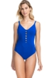 Profile by Gottex Date Night Sapphire V-Neck One Piece Swimsuit