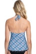 Profile by Gottex Pinwheel Blue V-Neck Halter Tankini Top
