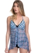 Profile by Gottex Pinwheel Blue V-Neck Ruffle Flyaway Tankini Top