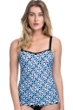 Profile by Gottex Pinwheel Blue D-Cup Scoop Neck Shirred Underwire Tankini Top