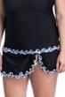 Profile by Gottex Pinwheel Black Plus Size Side Slit Cinch Swim Skirt