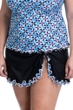 Profile by Gottex Pin Wheel Black Plus Size Side Slit Cinch Swim Skirt