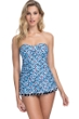 Profile by Gottex Pinwheel Blue Bandeau Strapless Shirred Swimdress