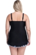 Profile by Gottex Pinwheel Black Plus Size V-Neck Shirred Swimdress