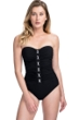Profile by Gottex Moto Black and White Lace Up Shirred Front Bandeau Strapless One Piece Swimsuit