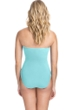 Profile by Gottex Moto Sea Foam Lace Up Shirred Front Bandeau Strapless One Piece Swimsuit