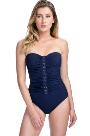 Profile by Gottex Moto Navy Lace Up Shirred Front Bandeau Strapless One Piece Swimsuit