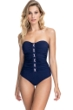 Profile by Gottex Moto Navy and Pink Lace Up Shirred Front Bandeau Strapless One Piece Swimsuit