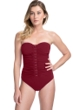 Profile by Gottex Moto Merlot Lace Up Shirred Front Bandeau Strapless One Piece Swimsuit