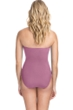 Profile by Gottex Moto Dusk Rose Lace Up Shirred Front Bandeau Strapless One Piece Swimsuit