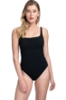 Profile by Gottex Moto Black Lace Up Side Shirred One Piece Swimsuit