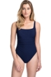 Profile by Gottex Moto Navy Lace Up Side Shirred One Piece Swimsuit