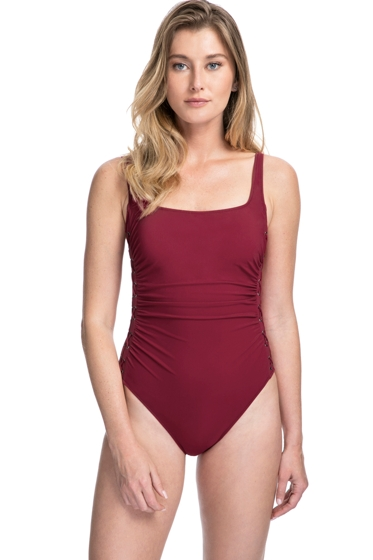 Profile by Gottex Moto Merlot Lace Up Side Shirred One Piece Swimsuit