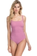Profile by Gottex Moto Dusk Rose Lace Up Side Shirred One Piece Swimsuit