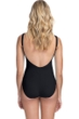 Profile by Gottex Moto Black Lace Up V-Neck Shirred Underwire One Piece Swimsuit