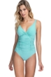 Profile by Gottex Moto Sea Foam Lace Up V-Neck Shirred Underwire One Piece Swimsuit