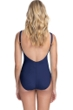 Profile by Gottex Moto Navy Lace Up V-Neck Shirred Underwire One Piece Swimsuit