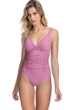 Profile by Gottex Moto Dusk Rose Lace Up V-Neck Shirred Underwire One Piece Swimsuit