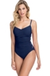 Profile by Gottex Moto Navy and Pink C-Cup Lace Up Scoop Neck One Piece Swimsuit