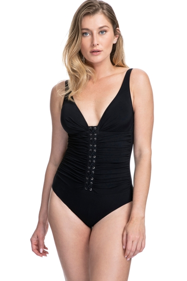 Profile by Gottex Moto Black D-Cup Lace Up V-Neck Plunge Shirred One Piece Swimsuit