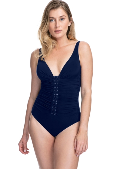Profile by Gottex Moto Navy D-Cup Lace Up V-Neck Plunge Shirred One Piece Swimsuit