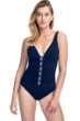 Profile by Gottex Moto Navy and Pink D-Cup Lace Up V-Neck Plunge Shirred One Piece Swimsuit