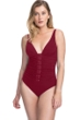 Profile by Gottex Moto Merlot D-Cup Lace Up V-Neck Plunge Shirred One Piece Swimsuit