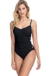 Profile by Gottex Moto Black and White D-Cup Lace Up Scoop Neck One Piece Swimsuit