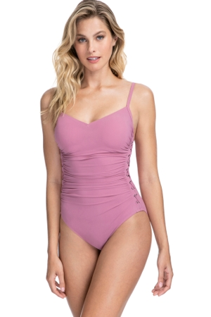Profile by Gottex Moto Dusk Rose D-Cup Lace Up Scoop Neck One Piece Swimsuit