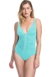 Profile by Gottex Moto Sea Foam E-Cup Lace Up V-Neck Plunge Shirred One Piece Swimsuit