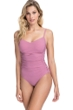 Profile by Gottex Moto Dusk Rose E-Cup Lace Up Scoop Neck One Piece Swimsuit