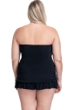 Profile by Gottex Moto Black and White Plus Size Cross Over Bandeau Strapless Swimdress